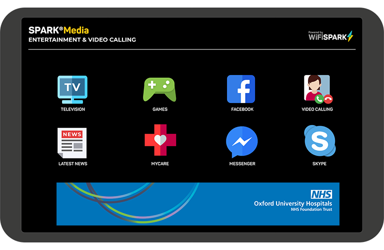 SPARK® Media video calling tablet for patients at Oxford NHS