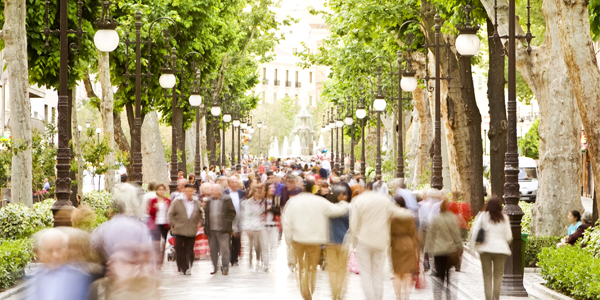 People walking through a town